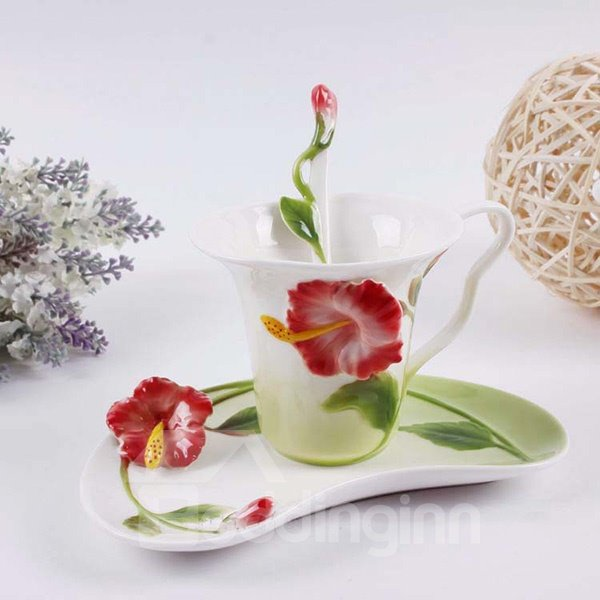 Gorgeous 3D Flower Design Ceramic Coffee Cup