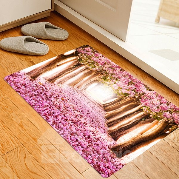 Fantastic Tree-Lined Lane Covered in Pink Flower Anti-Slipping Doormat