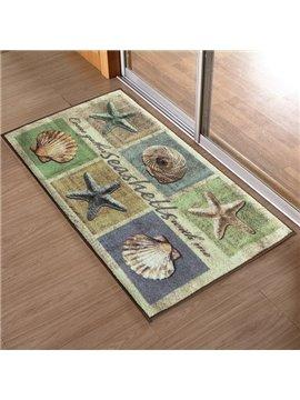 European Vintage Beach Style Seashell and Starfish Pattern Anti-Slipping Doormat