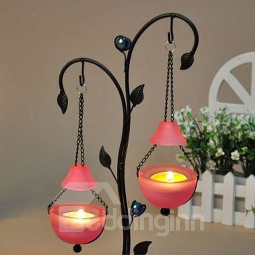 European Style Iron Art Work Suspended 2-Head Candle Holder
