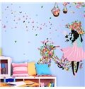 Colorful Butterflies Girl with Flower Bike Print Wall Sticker