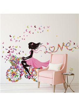 Colorful Butterflies Girl Riding Flower Bike Print Wall Sticker
