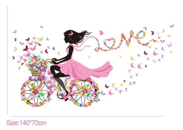 Colorful Butterflies Girl Riding Flower Bike Print Wall Sticker