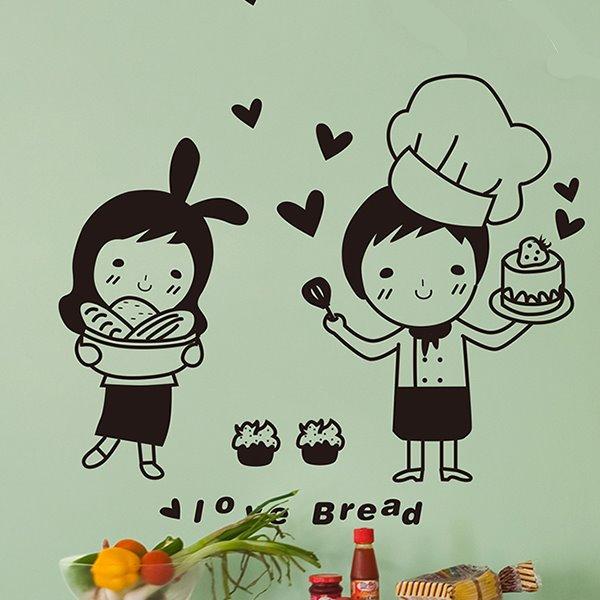 Happy Chef Super Love Bread Print Wall Sticker