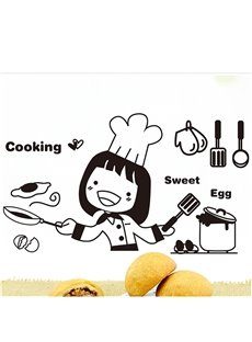 Girl Chef Cooking Sweet Egg Print  Wall Sticker