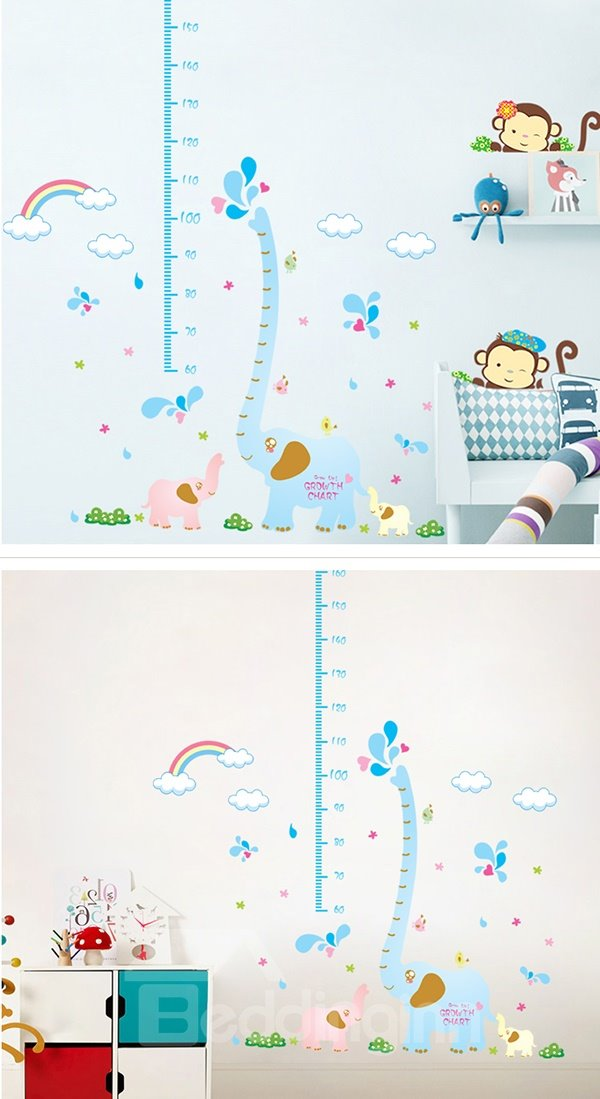 Blue Elephant and Clouds Print Height Measurement Kids Wall Decal