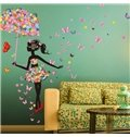 Colorful Butterflies Girl with Flower Umbrella Print Wall Sticker