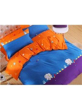 Chic Color Block Small Elephant Pattern 4-Piece Duvet Cover Set
