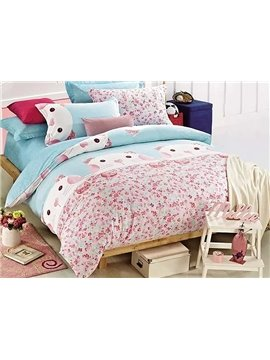 Lovely Cartoon Cat Printing Cotton 4-Piece Duvet Cover Sets
