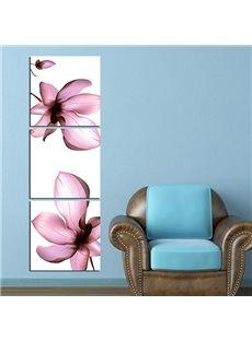 Stunning Chic Pink Flowers 3-Panel Canvas Wall Art Prints