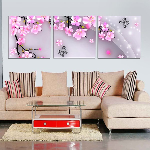 Lovely Little Pink Flowers and Butterfly 3-Panel Canvas Wall Art Prints