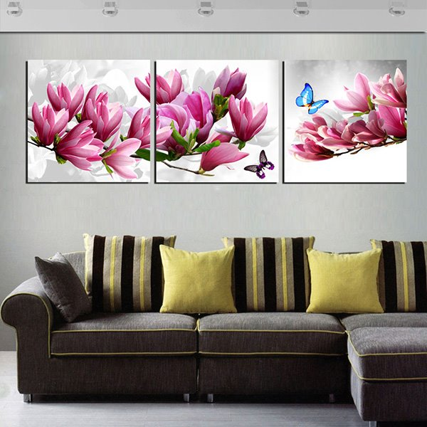Gorgeous Magnolia 3-Panel Canvas Wall Art Prints