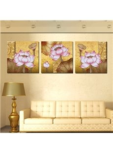 Amazing Beautiful Lotus 3-Panel Canvas Wall Art Prints