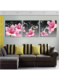 Amazing Gorgeous Pink Lily 3-Panel Canvas Wall Art Prints