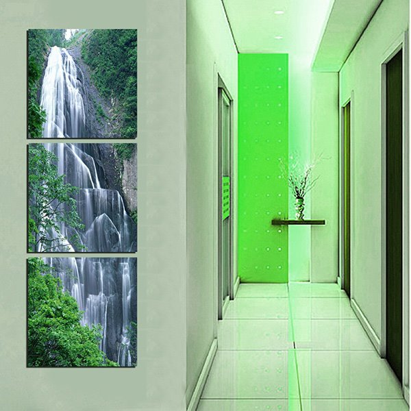 Natural Scenery Magnificent Waterfall in Valley 3-Panel Canvas Wall Art Prints