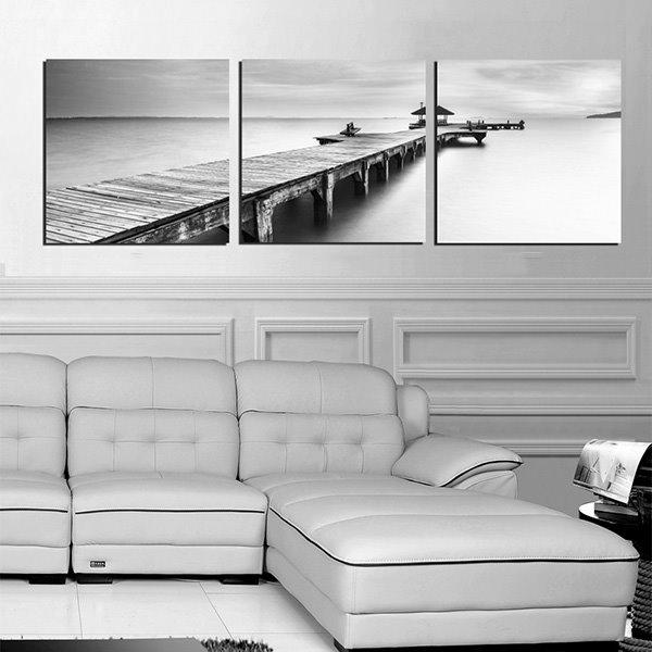 Unique Quiet Lake and Wood Bridge 3-Panel Canvas Wall Art Prints