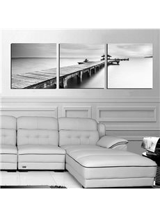 Unique Quiet Lake and Wood Bridge 3-Panel Canvas Wall Art Prints