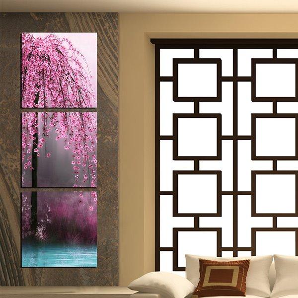 Beautiful Hanging Flowers Canvas 3-Panel Wall Art prints