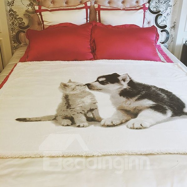 Cute Kissing Cat and Dog Print Coral Fleece Blanket