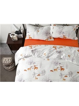 Christmas Reindeer Print European Style White 4-Piece Cotton Duvet Cover Sets