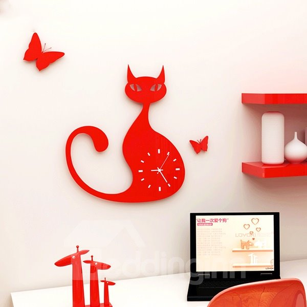 Unique Long Tail Cat Design 3 Colors Decorative Wall Clock
