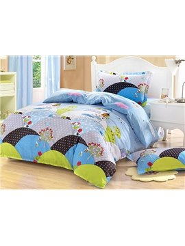 Bouncy Dream Castle Print Kids Cotton 3-Piece Duvet Cover Sets