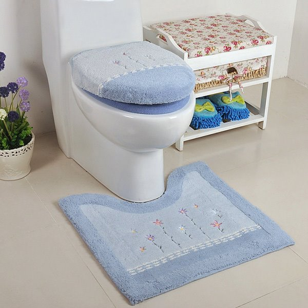 Contemporary Concise Blue Flower Toilet Seat Cover and Rug Set