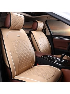 Formal and Classic Plaid Patterned Leather Material Car Seat Cover