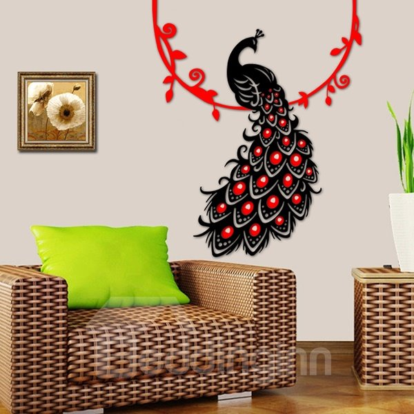 Fantastic Graceful Acrylic Peacock on Branch Removable 3D Wall Sticker
