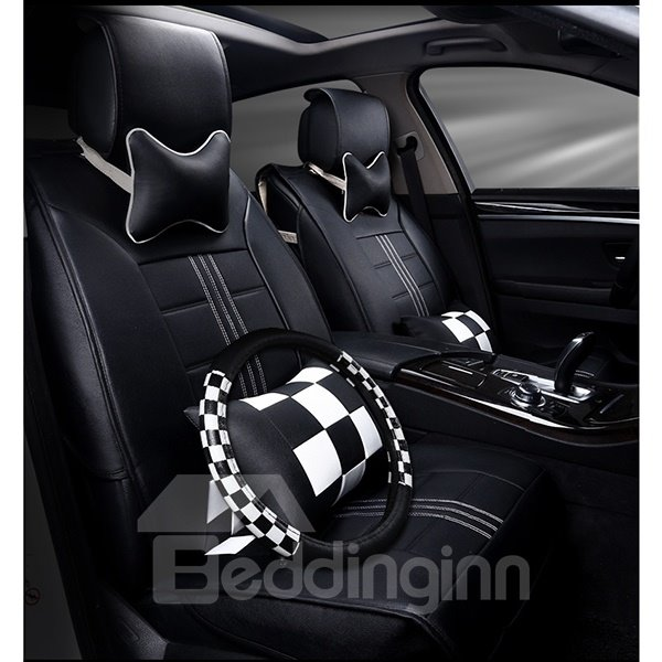 Classic Durable Leather Material Plaid Pattern Car Seat Covers