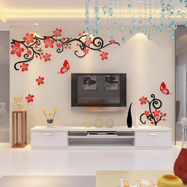 Fabulous acrylic 3d flowers and vines tv wall bedroom 3d wall stickers - Flower wall designs for a bedroom ...