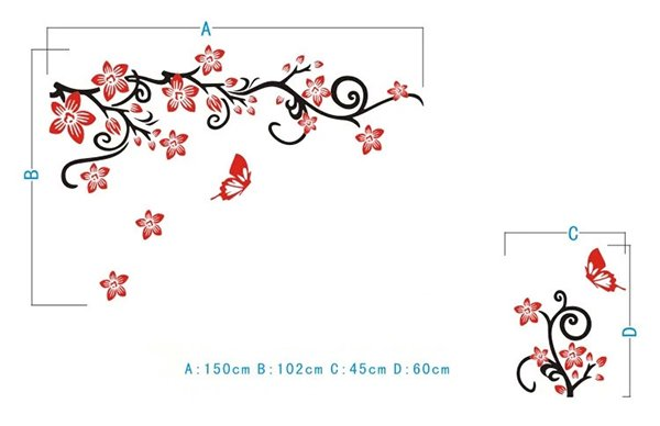 Fabulous Acrylic 3D Flowers and Vines TV Wall Bedroom 3D Wall Stickers