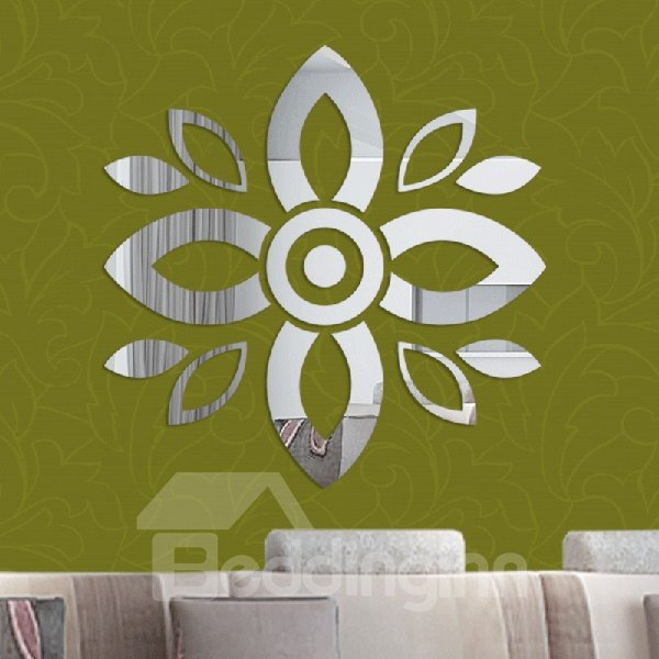 Unique Acrylic Mirror Surface Floral Pattern Removable 3D Wall Sticker