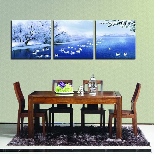 Picturesque Winter Snowing Frozen Lake and Swans 3-Panel Wall Art Prints