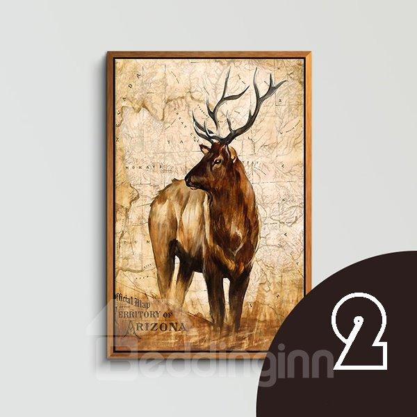 Wonderful American Country Style Deer 1-Panel Framed Wall Art Print