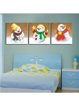 Festival Christmas Theme Cute Snowman 3-Panel Kidsroom Wall Art Prints