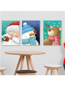 Festival Christmas Theme Santa Claus and Snowman and Deer Pattern 3-Panel Kidsroom Wall Art Prints