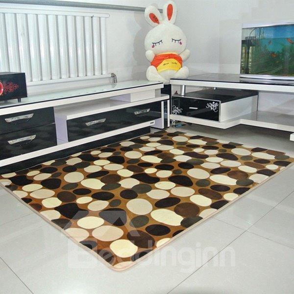 Classic Pebbles Pattern Coral Fleece Living Room Bedroom Area Rug