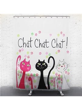 Pretty Lovely Three Color Cats Shower Curtain