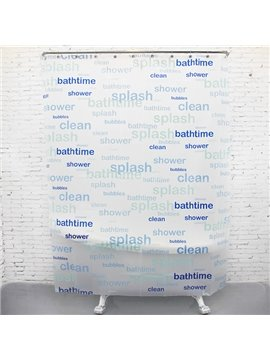 Fashion Simple Fresh Bathtime Alphabets Shower Curtain