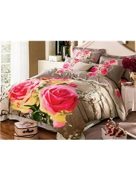 Romantic Two Roses Printing Brown 4-Piece Cotton Duvet Cover Sets