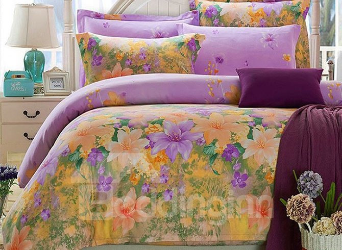 Pastoral Yellow And Purple Flowers Printing Cotton 4-Piece Duvet Cover Sets