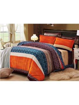 Wave Design European Style Cotton 4-Piece Duvet Cover Sets