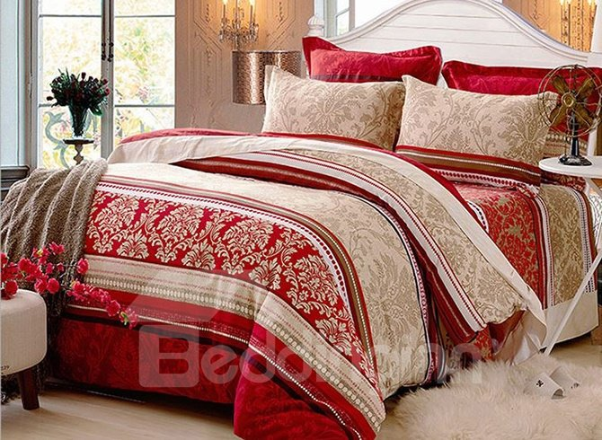 Exquisite Jacquard Printing European Style 4-Piece Cotton Duvet Cover Sets