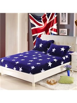 Cute Bright Stars Printing Flannel Fitted Sheet