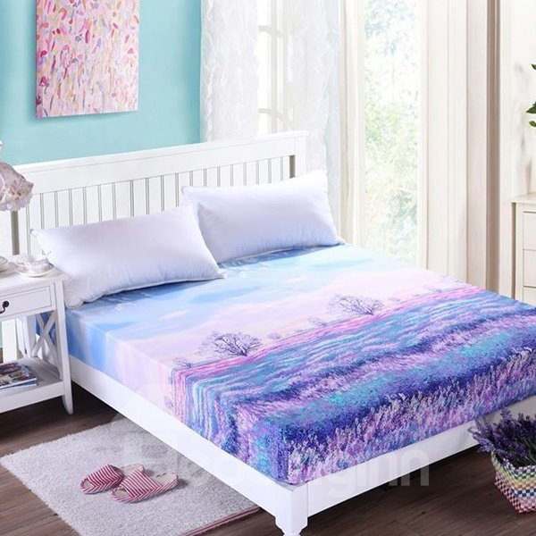Graceful Purple Lavender Printing Polyester Fitted Sheet