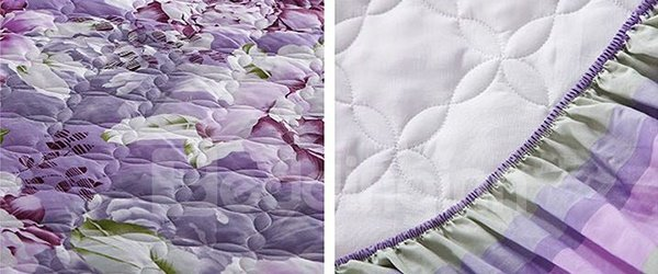 Purple Blooming Peony Printing Cotton Fitted Sheet