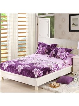 Purple Lily Printing Soft Flannel Fitted Sheet