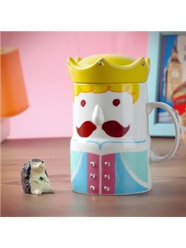 Creative Crown King and Queen Pattern Ceramic Coffee Mug