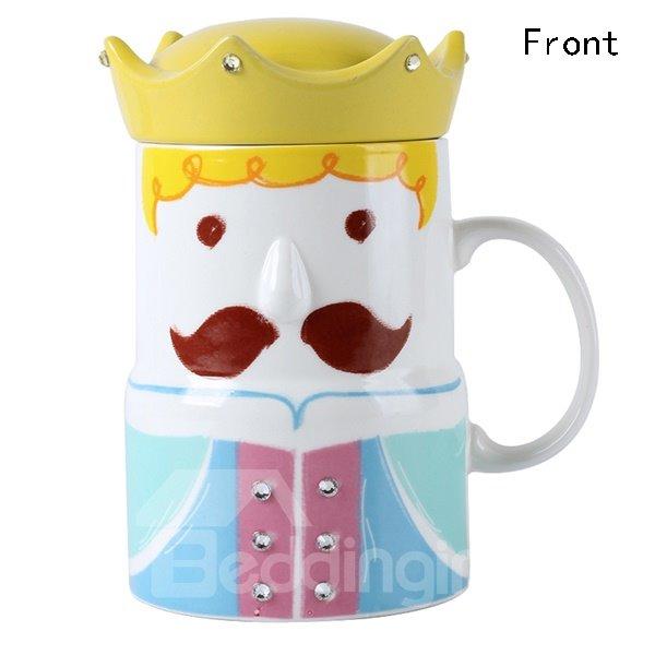 Creative Crown King and Queen Pattern Ceramic Coffee Mug